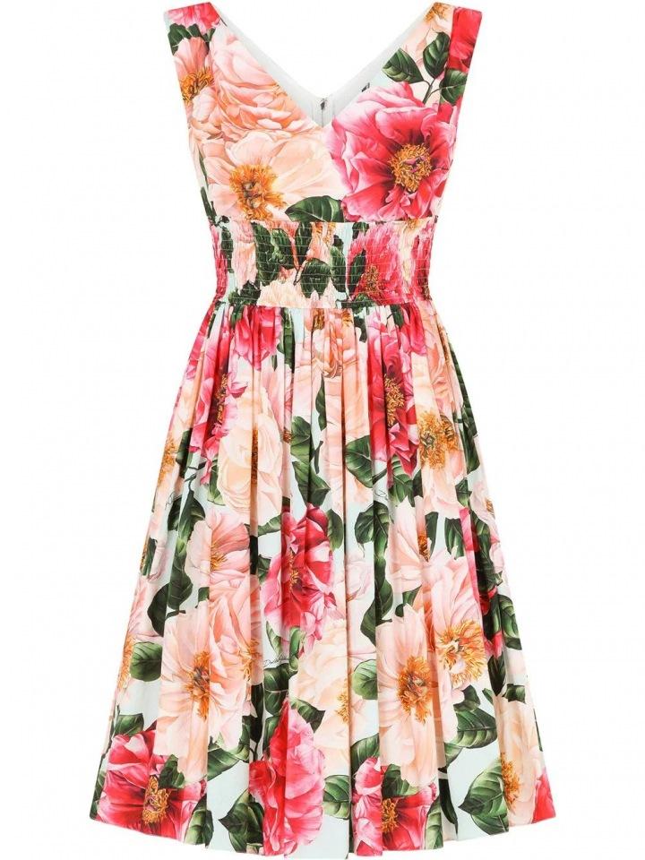 Květinové šaty s širokými ramínky Dolce & Gabbana