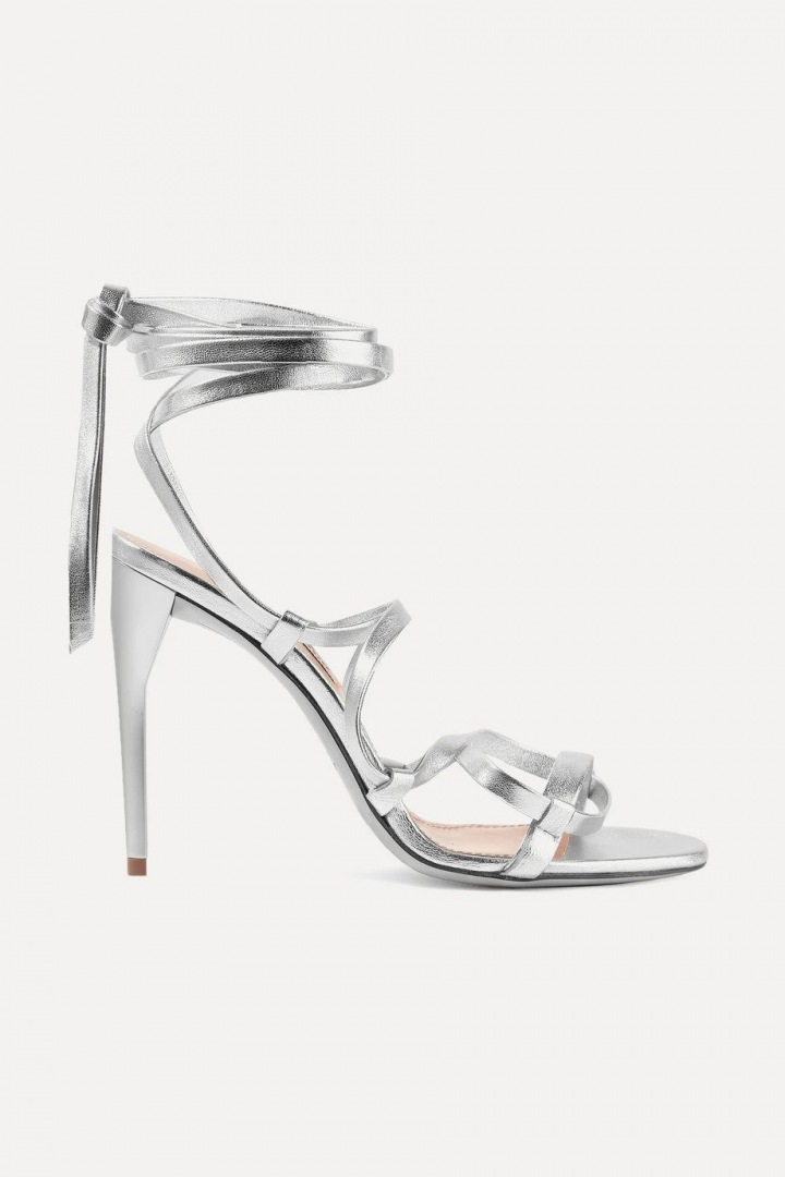 Stříbrné metalické sandálky Miu Miu