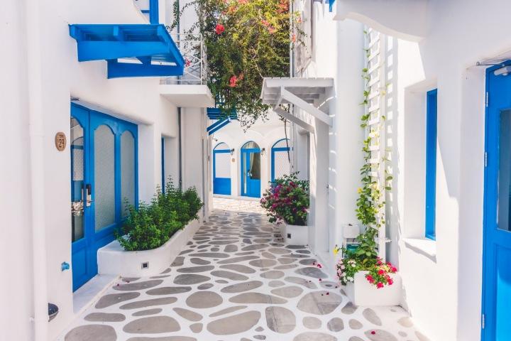 Ukázka typické středomořské architektury, Řecko