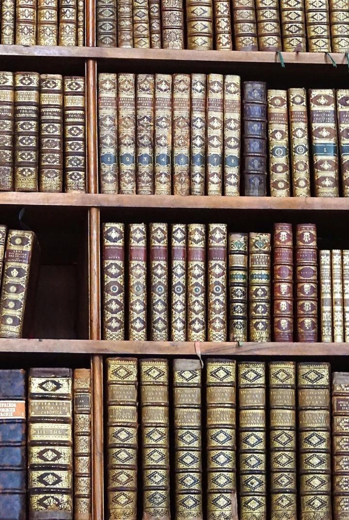 Detail na hřbety knih
