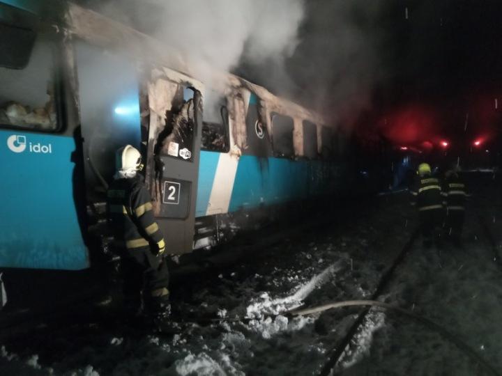 Požár vlakové soupravy