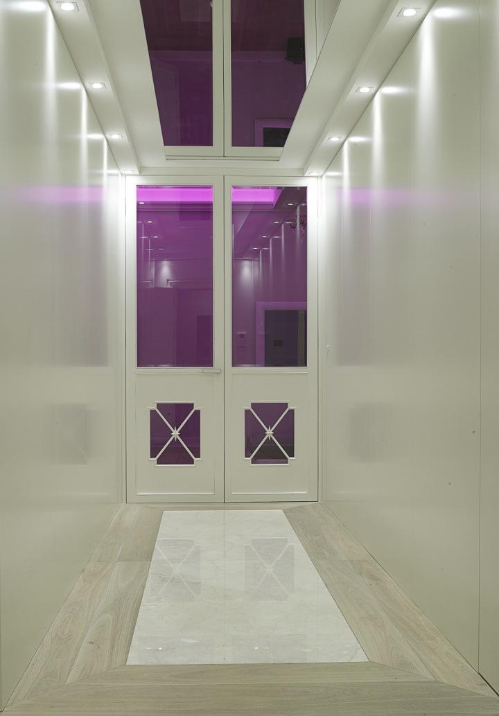 Růžové osvětlení interiéru