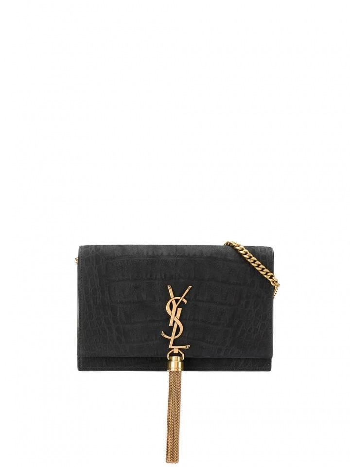 Černá kožená kabelka Yves Saint Laurent.