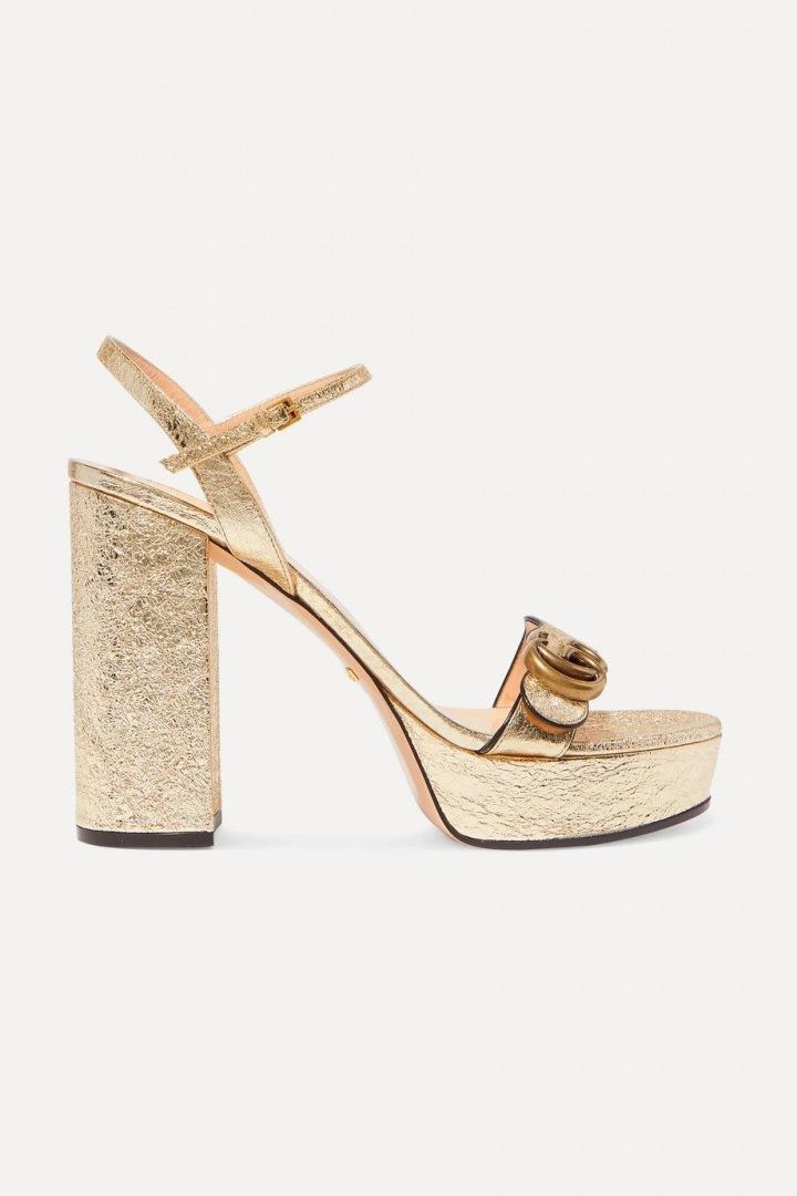 Zlaté sandálky na podpatku Gucci