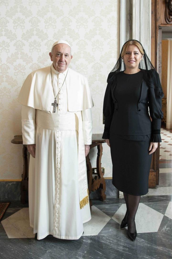 Prezidentka SR Zuzana Čaputová s papežem Františkem.