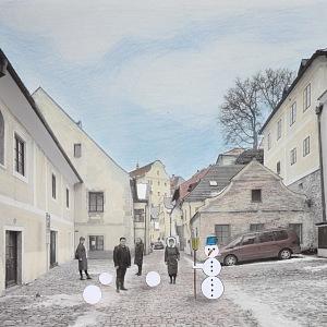 Normal life in the streets of Český Krumlov