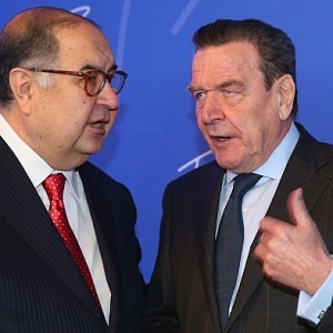 Alisher Usmanov and Gerhard Schröder