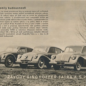 Tatra automobily budoucnosti, reklama z roku 1938