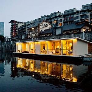 Houseboat on Vltava river