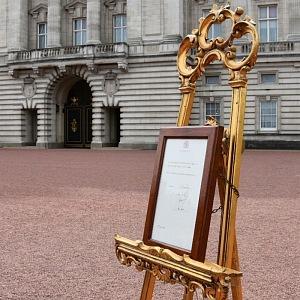 Oznámení před Buckinghamským palácem