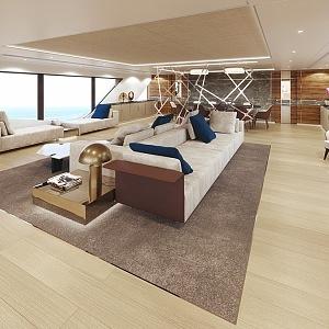 Vyladěný interiér jachty Rosetti - koncept