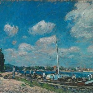 Alfred Sisley, Vykládání nákladních člunů v Billancourtu, 1877