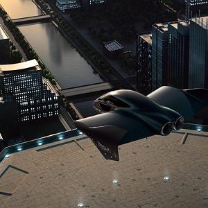 Porsche auto/letadlo ve vzduchu