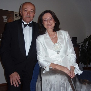 With her husband