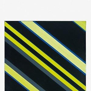 Günter Fruhtrunk, Šedá-černá-žlutá, 1970, olej, plátno, 81 × 80 cm