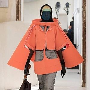 Korálová pěnová sukně ve tvaru kabátu