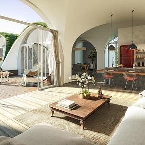 Hobití domky Green Magic Homes, interiér