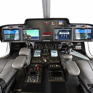 Pilot cabin of luxury helicopter