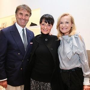 The opening of the Brunello Cucinelli boutique in Prague in 2017: Brunello Cucinelli, Liběna Rochová and Lenka Vejvalková