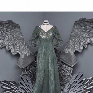 Zelené šaty z kolekce Dior Fall 2020 Haute Couture