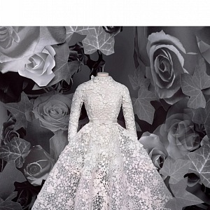 Bílé šaty z kolekce Dior Fall 2020 Haute Couture