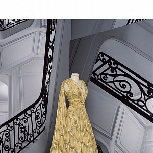 Žluté šaty z kolekce Dior Fall 2020 Haute Couture