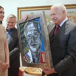 Umělkyně věnovala portrét bývalému prezidentovi už před dvěma lety.