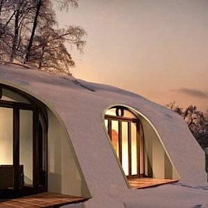 Hobití domky Green Magic Homes v zimě
