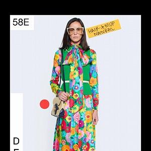 Žena v květinových šatech Gucci Resort 2021