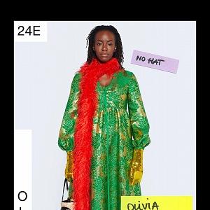 Žena v zelených šatech Gucci Resort 2021