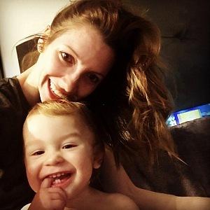 Monika Hejduková with her son