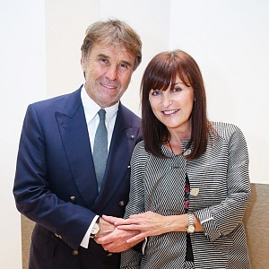 The opening of the Brunello Cucinelli boutique in Prague in 2017: Brunello Cucinelli and Beata Rajská