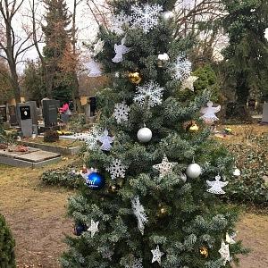 Karel Vánoce miloval, proto u místa jeho odpočinku nechybí stromeček.