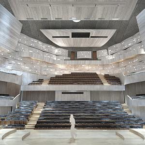 Koncertní sál, pohled z jeviště.