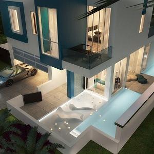 Mikro dům bude disponovat dvěma bazény.