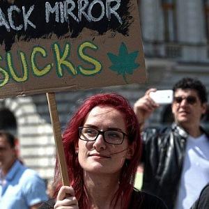 Markéra Gregorová na demonstraci.
