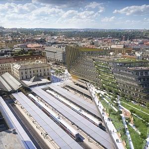 Vizualizace budoucí podoby nádraží a jeho okolí.