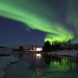 Nádherná polární záře, Island