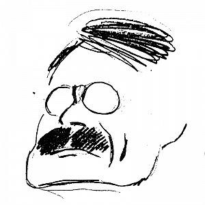 Otakar Novotny on the caricature by Jan Kotěra.