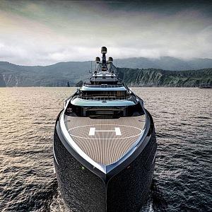 Pohled z blízka na jachtu Centauro