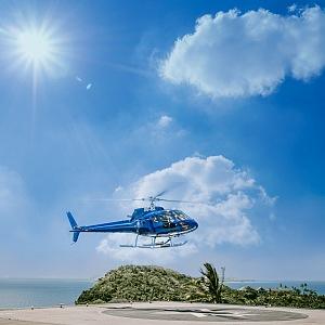 Ostrov Komomo, vrtulník, transfer