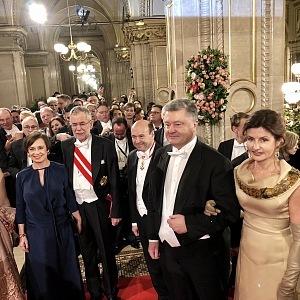 Doris Schmidauer, Prezident Alexander Van der Bellen, prezident Ukrajiny Petro Poroshenko, Maryna Poroschenko