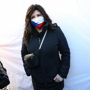 Ilona Csáková na demonstraci proti protivládním opatřením na Václavském náměstí
