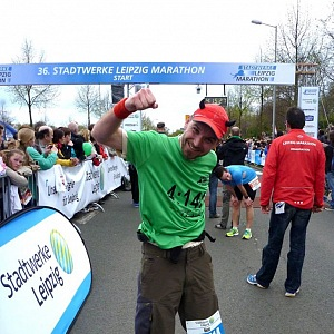 Rene Kujan po uběhnutí maratonu