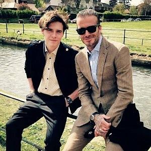 David Beckham with his son