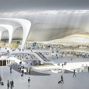 Vnitřní část letiště v Pekingu
