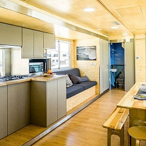 Interior of unique hotel on wheels