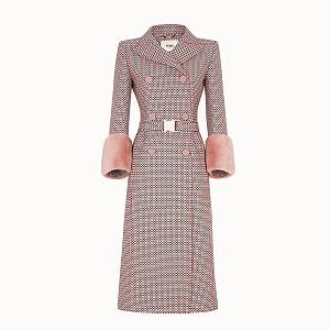 Růžový vlněný kabát Fendi, Resort 2019