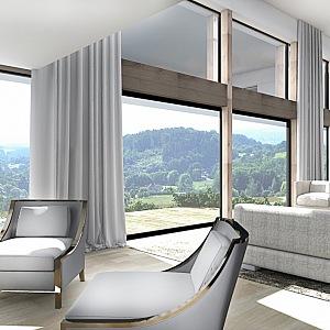 Vila za Prahou - obývací pokoj